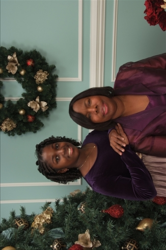 Chantelle and I sitting for Christmas portraits